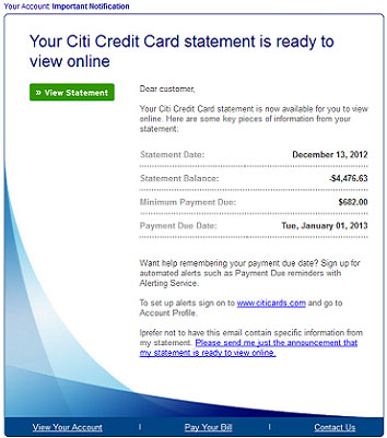 Fake CitiBank credit card statement leads to malware - Help Net