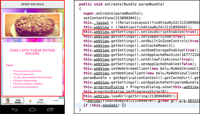 Android apps hidden iFrames