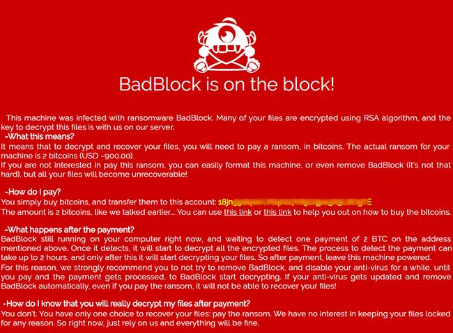 BadBlock ransom note