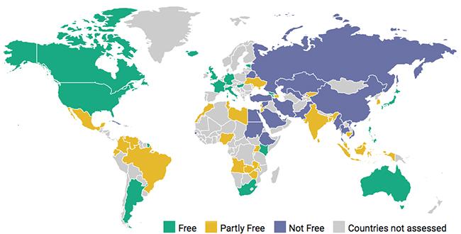 State of Internet freedom around the world