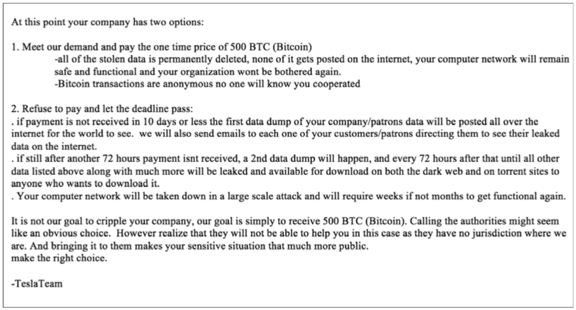 business cyber extortion