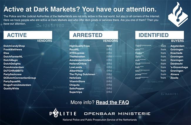 Dutch police takes over darknet market, posts warning