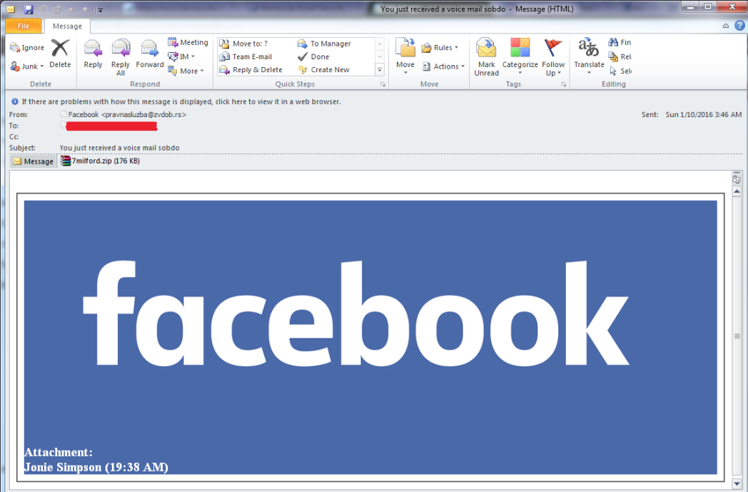 Fake Facebook emails deliver malware
