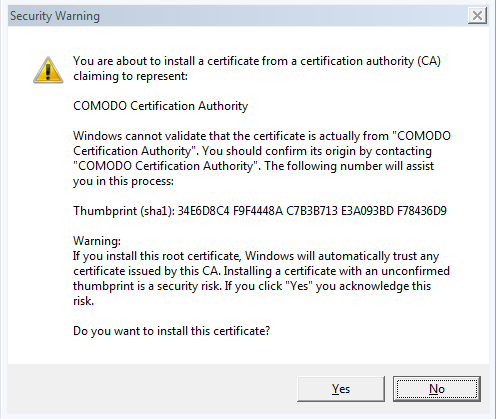 Fake root certificate