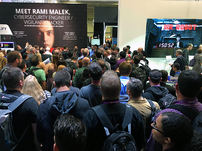 Waiting for Mr. Robot's Rami Malek at the Qualys stand