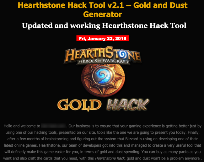 Trojan.Coinbitclip posing as a Hearthstone gold- and dust-hacking tool