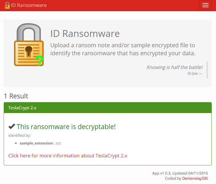 ID Ransomware tool