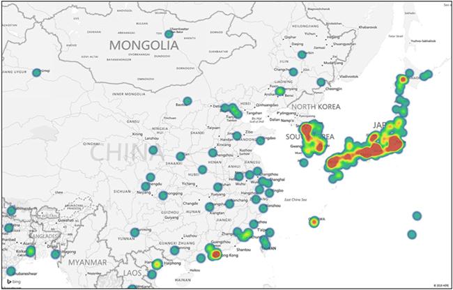 Jaku botnet victims in Asia