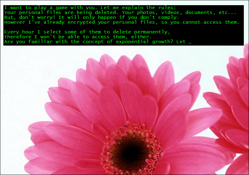 Jigsaw crypto-ransomware flower-themed ransom note