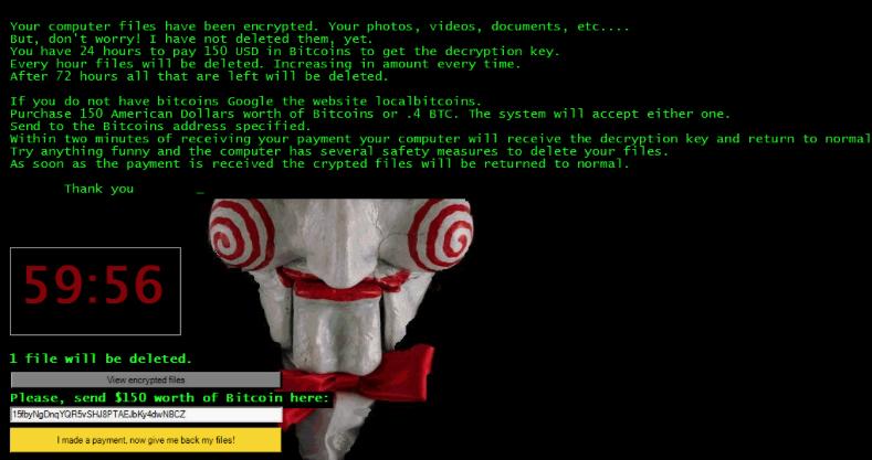 Jigsaw crypto-ransomware ransom note