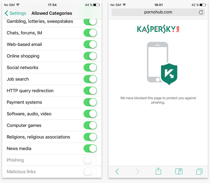 Kaspersky Safe Browser iOS app
