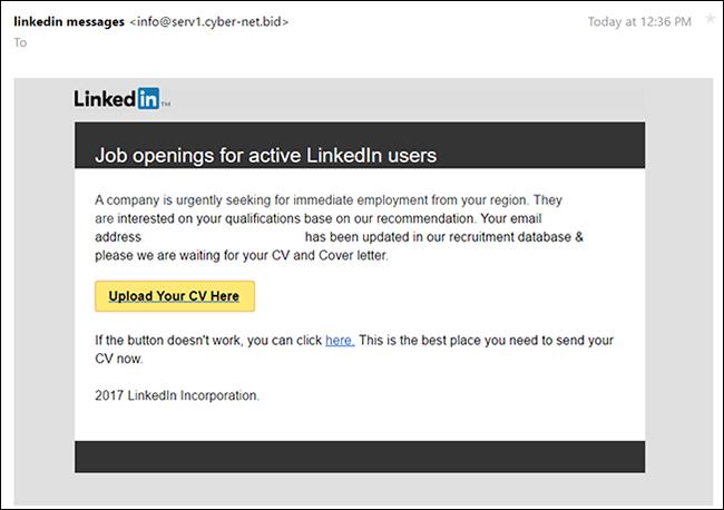 LinkedIn emails phishing