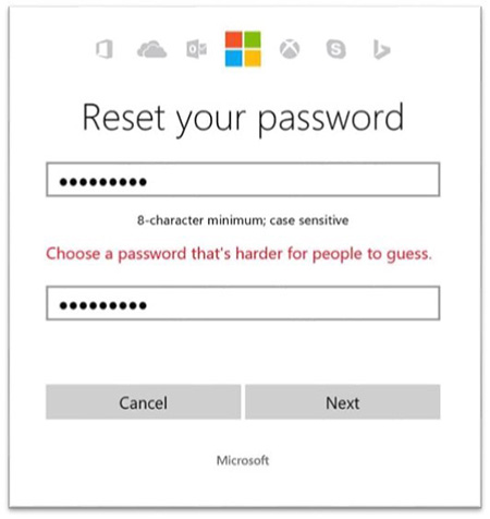 Microsoft's dynamical banning of common passwords in action
