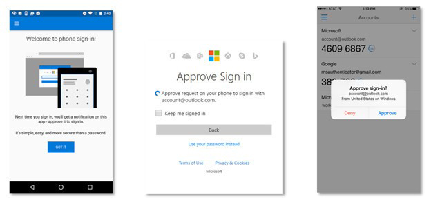 Microsoft phone sign-in option