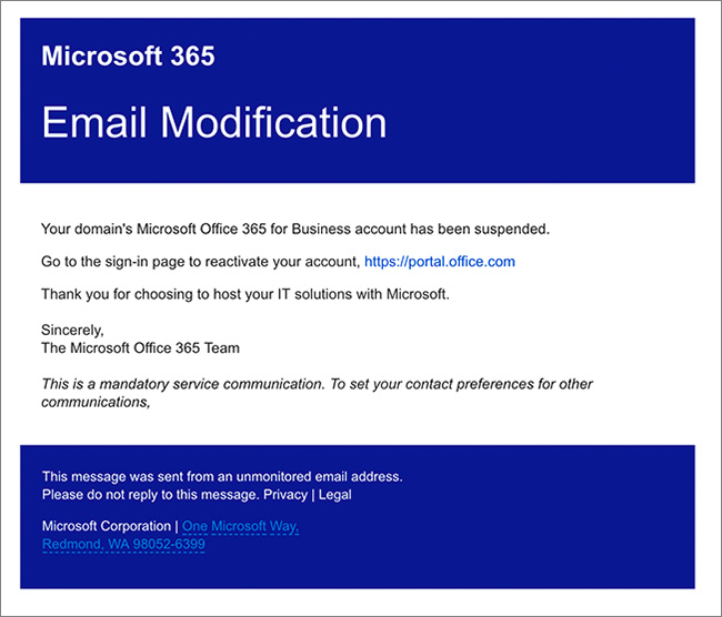 Office 365 account compromise