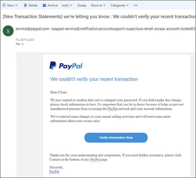 PayPal holiday phishing