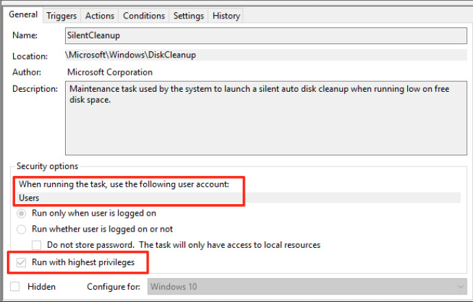 Silent Cleanup task configuration allows for User Account Control bypass