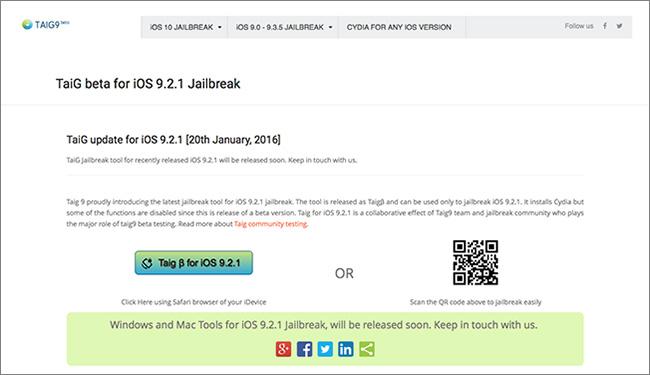 Scammy Taig9 website offering iOS jailbreak