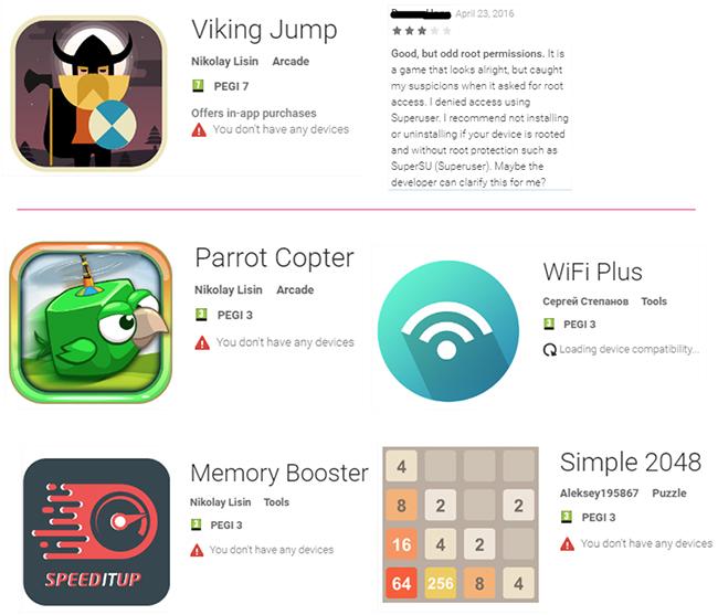Viking Horde botnet apps on Google Play