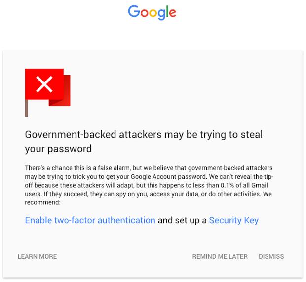 Gmail state-sponsored attack warning