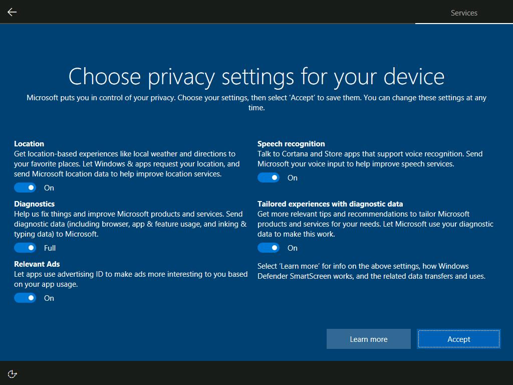 Windows 10 Creators Update privacy