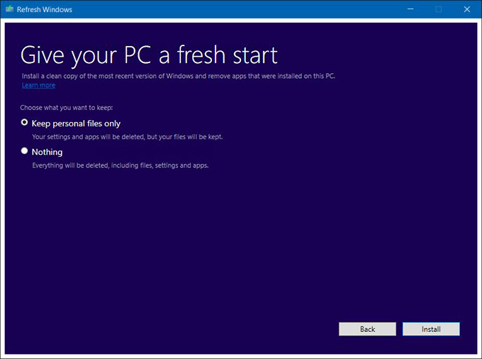 Windows refresh tool does away with bloatware