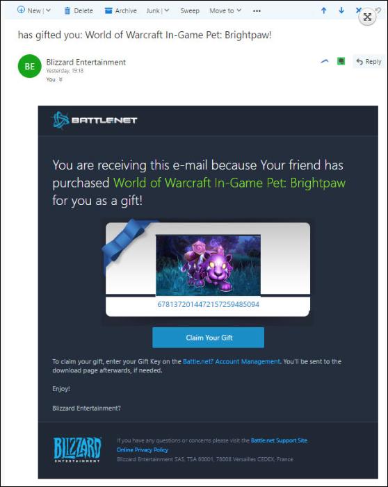 WoW phishing email