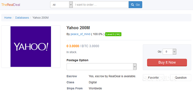 Data of 200 million Yahoo users offered for sale