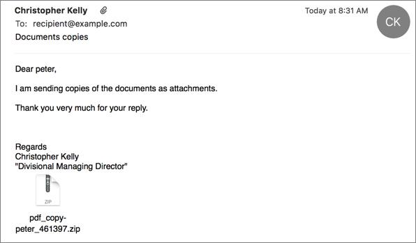 Spam email delivering Zepto