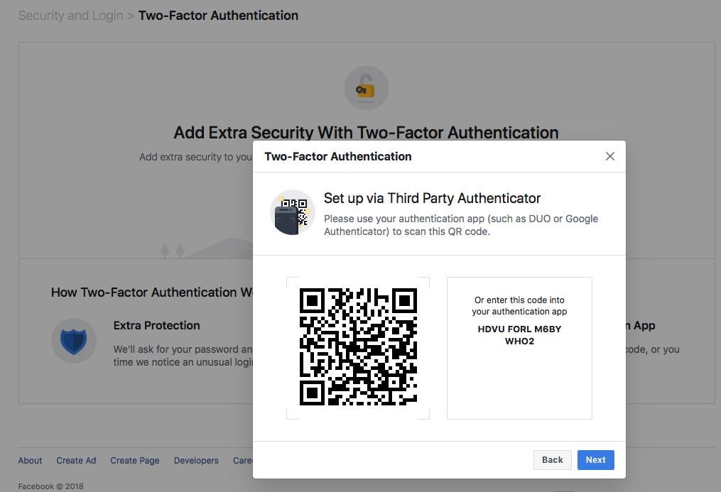 Facebook 2FA via authenticator apps