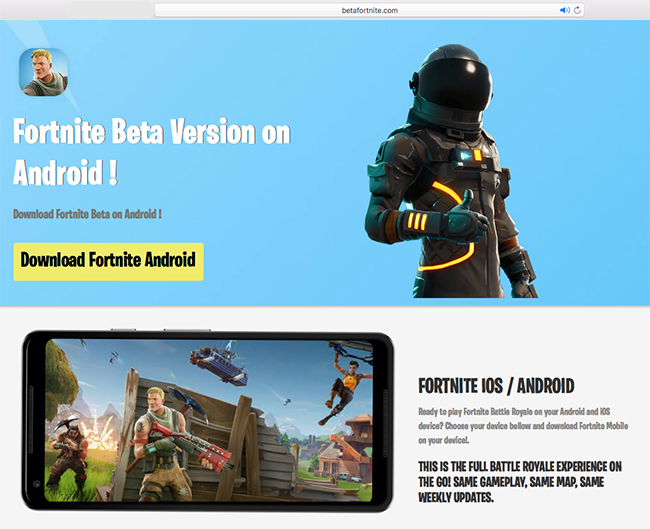 Fortnite Android scams