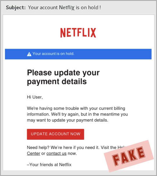 Netflix phishing ID