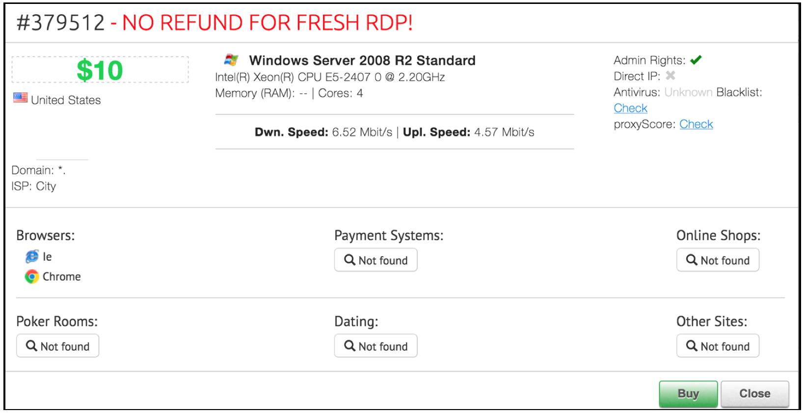 compromised RDP credentials dark web
