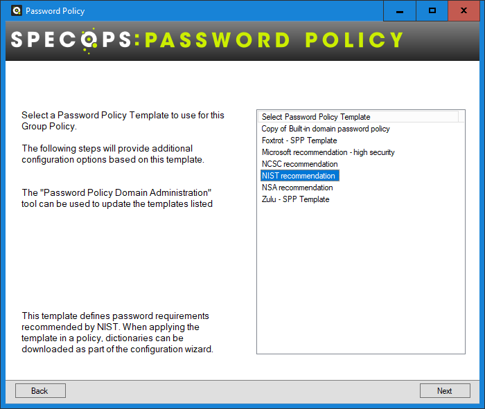 Review Specops Password Policy