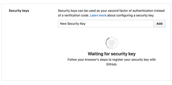 GitHub 2FA security keys