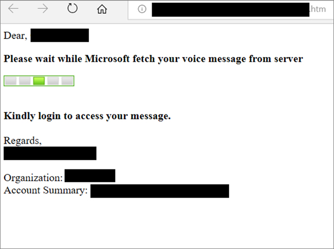 Office 365 voicemail phishing