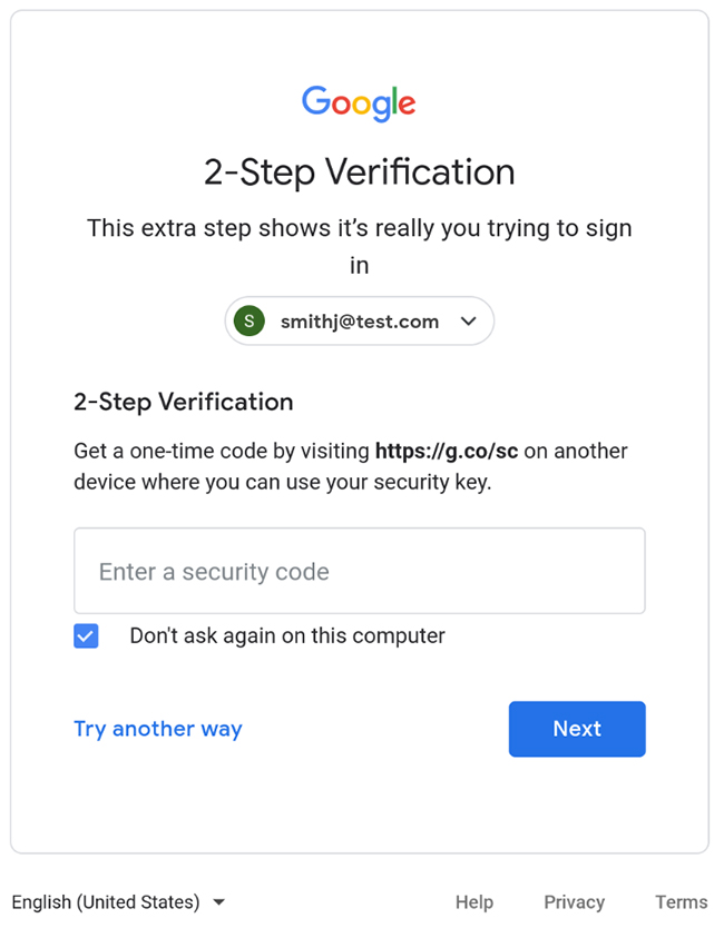 G Suite security code