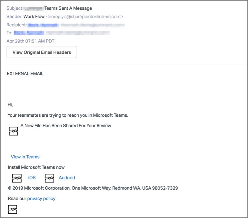 Fake Microsoft Teams notification