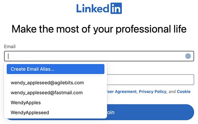 1Password email aliases